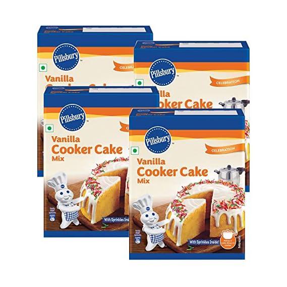 Pillsbury Cooker Cake Mix - Vanilla (Eggless) - 159g x Pack of 4, 636g