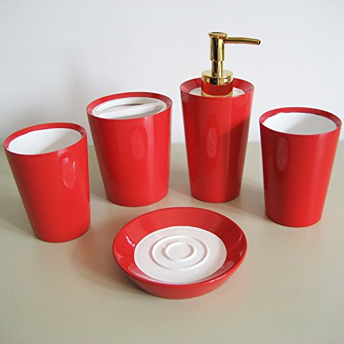 GTVERNH-Recipients Of The Gift Resin Wedding Bathroom Vanity 5-Piece Set The Mouthwash Cup Vanity Sets Bathroom Vanity Kit Red by GTVERNH