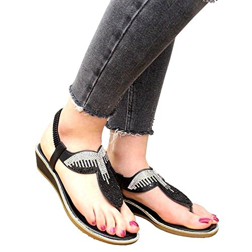 Styles Chaussure Black Ouverte Femme New À Saute L'arrière 7qgfx