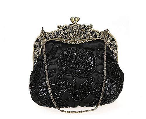ening Party Wedding Clutch Bag Ladies Luxury Handmade Chain Shoulder Handbag Flap Black ()