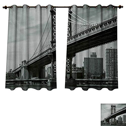 RuppertTextile New York Blackout Thermal Curtain Panel Bridge of NYC Vintage East Hudson River Image USA Travel Top Place City Photo Art Print Patterned Drape for Glass Door Grey W55 x L45 inch