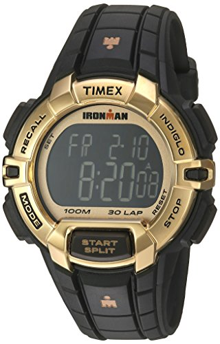 Timex Unisex TW5M06300 Ironman Rugged 30 Full-Size Black/Gold-Tone Resin Strap Watch