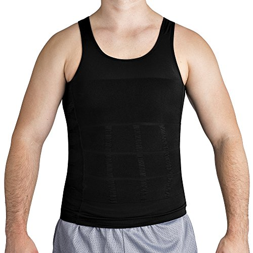 Feather Trim Tank (Roc Bodywear Mens Slimming, Compression shirt and Body Shaper. Top Rated (Md, Black))