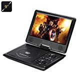 9 Inch Portable Region Free DVD Player - 270 Swivel Screen, Hitachi Lens, 16:9 Aspect, 1280x800 Resolution, SD Card Slot