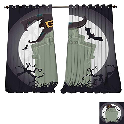 DESPKON-HOME Thermal Insulated Grommet Blackout Curtains Creepy Tombstone and Black Witch hat Halloween Party Decoration Vector for Bedroom -W120 x L108/Pair