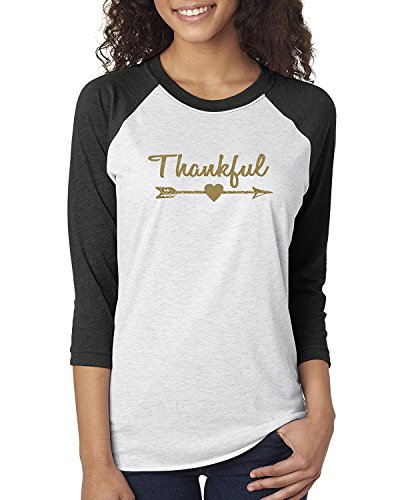 Tengo Women's Gold Glitter Christmas Shirt Raglan 3/4 sleeves T-shirts Round NeckTops (M, Black Light (Gold Glitter Shirt)