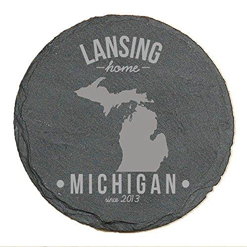Personalized Michigan State Pride Slate Coaster, Set of 4