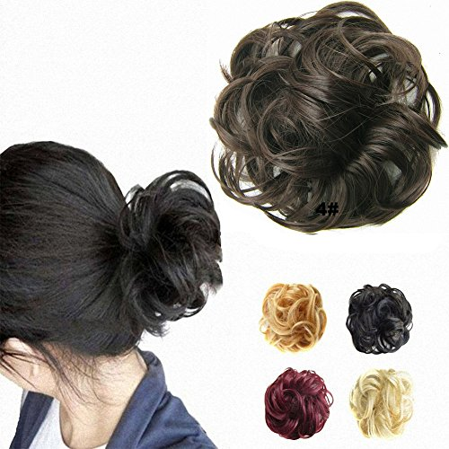 FESHFEN Hair Extensions Wavy Curly Messy Hair Bun Extensions Donut Hair Chignons Hair Piece Wig Hairpiece Scrunchy Scrunchie Hair Bun Updo Hairpiece Hair Ribbon Ponytail Extensions -4# Medium Brown