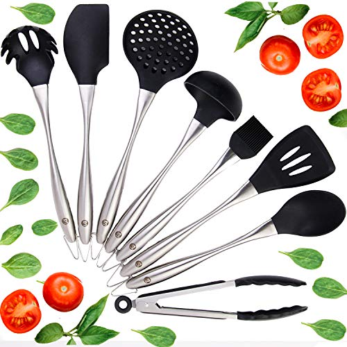 Improved 8 Piece Silicone Cooking Utensils SET. Heat Resistant Silicone Kitchen Utensils With Quality Stainless Steel Handles, Firmly Attached Rubber