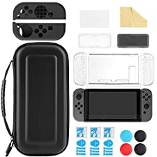 iAmer 11 in 1 Nintendo Switch Starter Kits, Nintendo Switch Carrying Case+Transparent Switch Cover+3 Switch Screen Protector+Silicone Joy-Con Gel Guards+Thumb Grips Caps+ Game Card Case+Screen Wipe