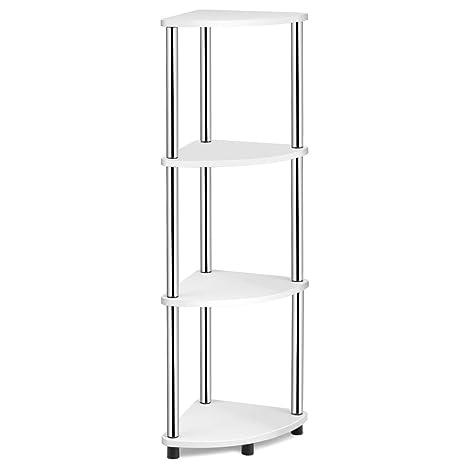 Tangkula 4-Tier Corner Display Rack, Multipurpose Corner Shelving Unit,  Living Room Display Stand, Bathroom Organizer Shelf, for Home ...