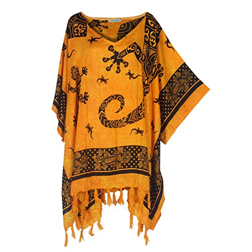 Tropicalsale Women's Plus Size Lovely Gecko Orange Caftan Tunic Hippy Top