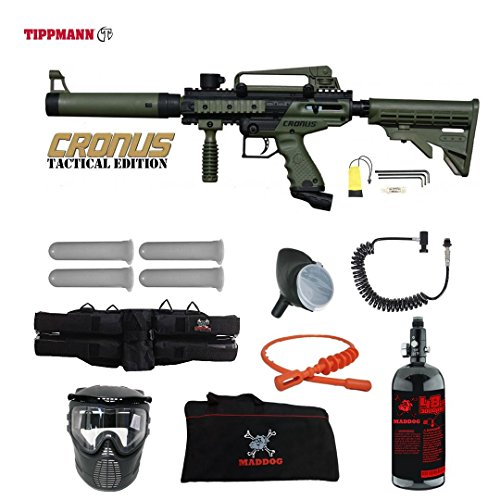 MAddog Tippmann Cronus Tactical Specialist HPA Paintball Gun Package - Black/Olive