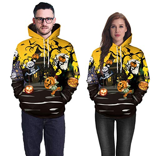 FEDULK Unisex Halloween Costume 3D Pumpkin Print Hoodies Hooded Sweatshirt Pullover Tops with Pockets(Black, Medium)