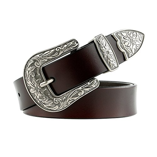 Women Leather Belts Ladies Vintage Western Design Black Waist Belt for Pants Jeans -