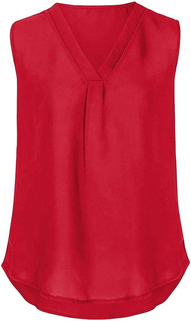 Winsummer Womens Casual Sleeveless V Neck Cuffed Pleated Blouse Shirts Summer Basic T Shirts Tunic Tops Tees