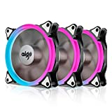 Aigo Aurora C3 Kit Case Fan 3-Pack RGB LED 120mm High Performance High Airflow Adjustable colorful PC CPU Computer Case Cooling Cooler with Controller