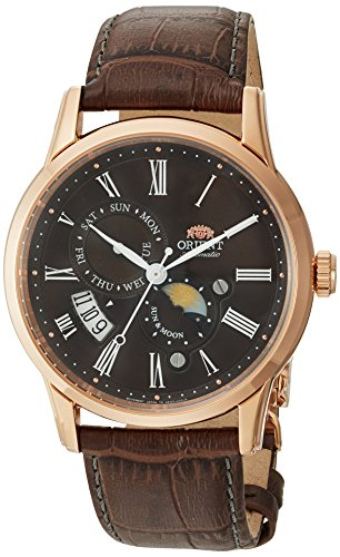 Orient Men's Sun and Moon Version 3 Stainless Steel Japanese-Automatic Watch with Leather Calfskin Strap, Brown, 22 (Model: FAK00003T0)