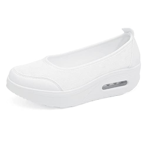 1ddd5ae9ba1 Femme Ballerines Sport Baskets Mode Confortable De Plein Air Chaussures De  Marche Blanc 35 EU