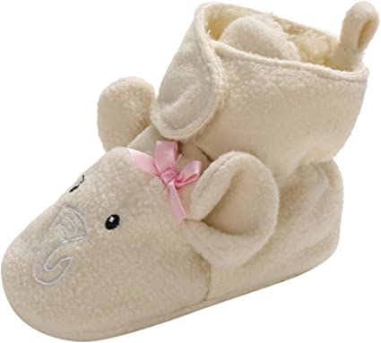 Baby Girls Boys Fleece Booties Newborn Cozy Warm Footwear Winter Cotton Socks Non-Slip Soft Sole Crib Shoes