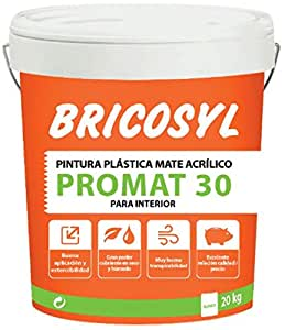 PINTURA PLASTICA BRICOSYL PROMAT 30 MATE BLANCO 5KG