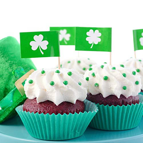 (Chuangdi 200 Pieces Shamrock Picks Shamrock Cupcake Topper St Patrick's Day Picks Toothpicks Four Leaf Clover Picks for St Patrick Party Cake Decoration)