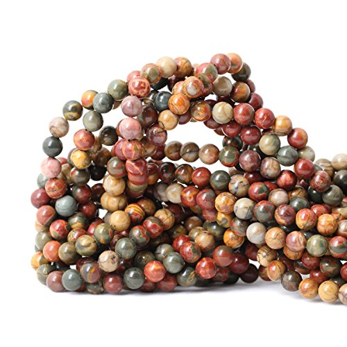 Qiwan 60PCS 6mm Natural Picasso Jasper Gemstone Round Loose stone Beads For Jewelry Making Wholesale Beads 1 Strand 15