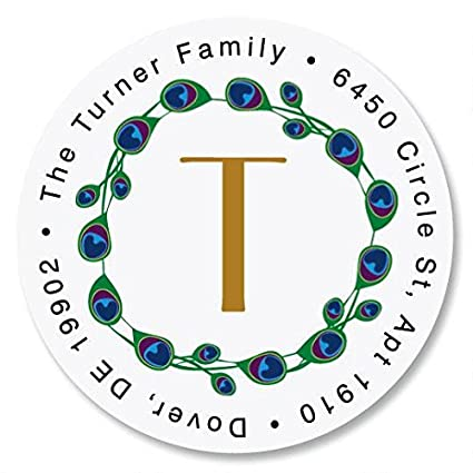 Peacock Luster Initial Self Adhesive Flat Sheet Round Address Labels