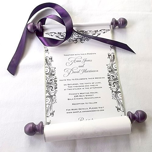 amazon com wedding invitation scrolls with rococo design