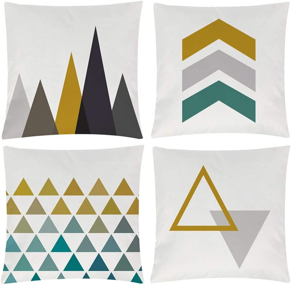Modern Simple Geometric Style Soft Linen Burlap Square Decor Throw Pillow Covers, 18 x 18 Inches, Pack of 4 (Yellow)