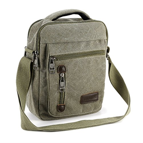 Men's Gents Travel Work Canvas Small Messenger Style Shoulder Bag Satchel (army green) from Unknown