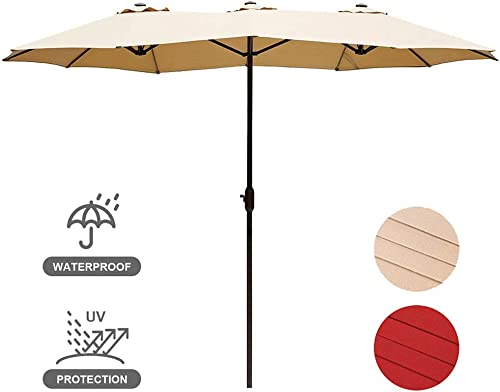 USspous Double-Sided Patio Umbrella Twin Outdoor Sun Shelter 15ft Market Umbrella with crank and 12 sturdy steel ribs -Beige Color