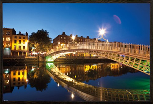 Dublin Halfpenny Bridge Landscape Poster in a Walnut Wood Frame (24x36) (Dublin Walnut)