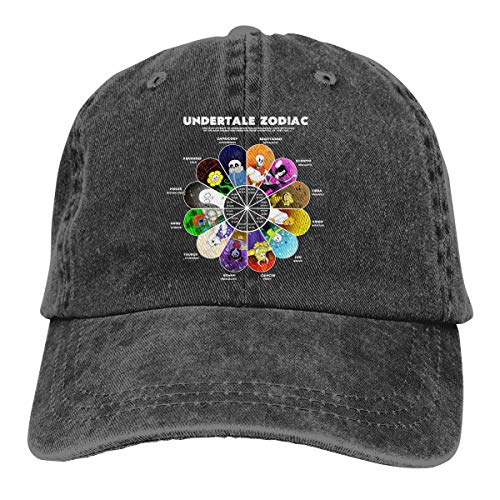 NICOTE Design Printing Breathable Dad Hat Undertale Zodiac Flower Funny Baseball-Cap Black