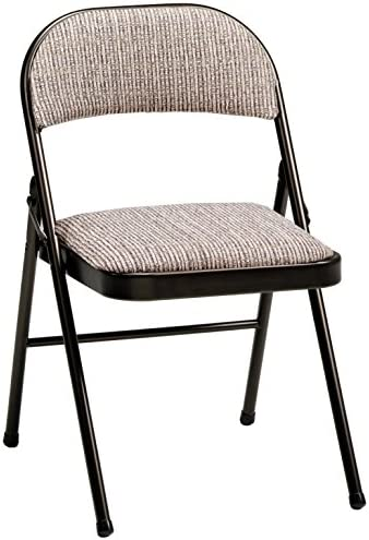 MECO 4-Pack Deluxe Fabric Padded Folding Chair, Cinnabar Frame and Motif Fabric Seat and Back