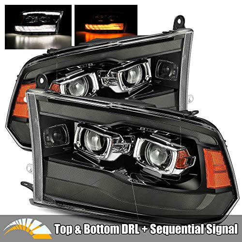 AlphaRex PRO-Series Smoke Black For 09-18 Ram 1500/10-18 Ram 2500/3500 Top and Bottom DRL/Switchback Sequential Signal Dual Projector Headlights