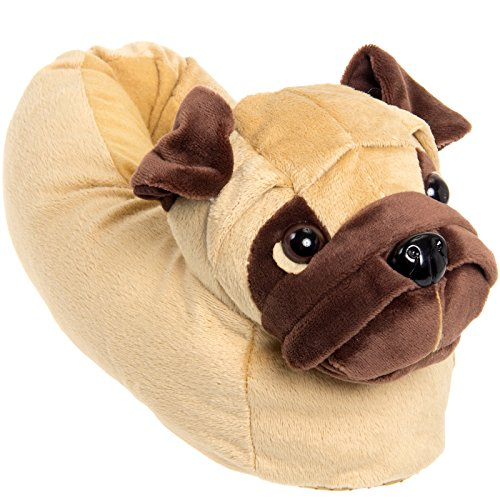 Silver Lilly Animal Slippers - Plush Pug Dog Slippers (Light Brown, Medium)