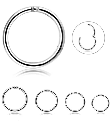 a89d52abe Besteel 4 Pcs Stainless Steel Cartilage Hoop Earrings for Men Women 16g  Nose Hoop Ring Helix Septum Daith Tragus Couch Lip Piercing Jewelry,6-12mm:  ...