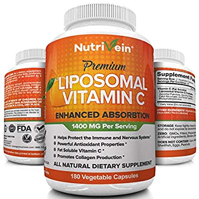 Nutrivein Liposomal Vitamin C 1400mg - 180 Capsules - High Absorption Ascorbic Acid - Supports Immune System and Collagen Booster - Powerful Antioxidant High Dose Fat Soluble Supplement- Vegan Pills