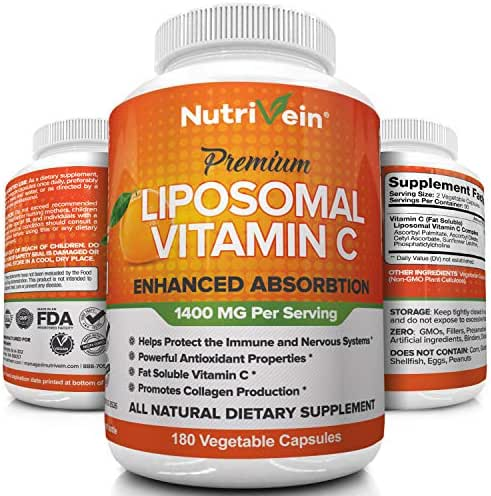 Nutrivein Liposomal Vitamin C 1400mg - 180 Capsules - High Absorption Ascorbic Acid - Supports Immune System and Collagen Booster - Powerful Antioxidant High Dose Fat Soluble Supplement - Lypo Spheric