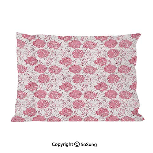 Rose Bed Pillow Case/Shams Set of 2,Artistic Girlish Pattern Rose Flower Silhouettes Outlines Botany Garden Meadow Decorative King Size Without Insert (2 Pack Pillowcase 36