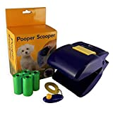 Dog Pooper Scooper with Integrated Poop Bag Dispenser. Bonus Dog Training Clicker and 4 Rolls of Poop Waste Bags. - Your Portable Dog Poop Scoop Can Handle Any Sized Load from Chihuahuas to Great Dane