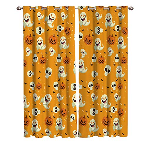 BABE MAPS 2 Panel Set Blackout Curtains Halloween Pumpkin and Ghost Pattern Darkening Window Curtain Thermal Insulated Grommet Drape Panels for Living Room and Bedroom 27.5