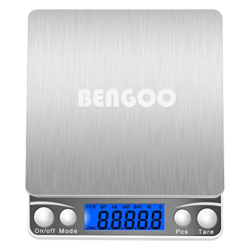 BenGoo 3000g Pocket Digital Scale Stainless Steel Kitchen Food Scale with LCD Display, Tare, Hold and PCS Features-Silver