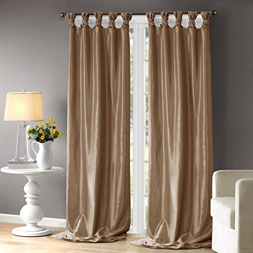 Tab Top Thermal Drapery - Taupe Curtains For Living room, Transitional Fabric Curtains For Bedroom, Emilia Solid Window Curtains, 50X120, 1-Panel Pack