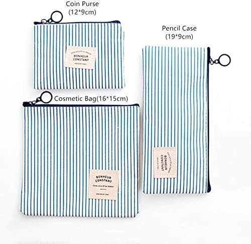 HTBG ファッショントラベルコスメティックバッグオーガナイザー女性ジッパーメイクアップバッグ女性小の必要性美容ハンドバッグ財布鉛筆バッグをメイクアップ (Color : Striped Blue, Size : Coin Purse)
