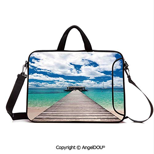 - AngelDOU Customized Neoprene Printed Laptop Bag Notebook Handbag Caribbean Seascape with Jetty and Sail Boat Cloudy Sky Clear Exotic Ocean Compatible with mac air mi pro/Lenovo/asus/acer Turquois