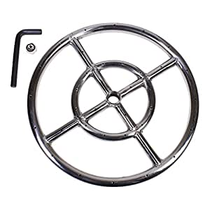 "12"" Round Fire Pit Burner Ring, Stainless Steel, Double Ring, by Celestial Fire Glass"