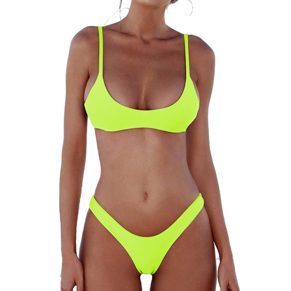 Bikini Set Fluorescent Yellow DaiLiWei Womens Retro Bathing Suit Vintage Tankini Striped Print Swimsuit Halter Swimwear Bikini Set
