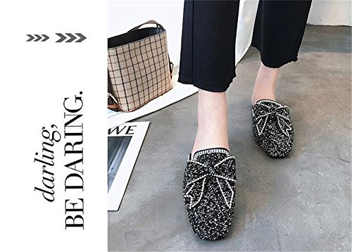 Mules Women Flat Ladies Pointed Summer MOREMOO 4 Footwear Slippers Outside Female Shoes Black Casual Toe Comfortable xqtYIxHd